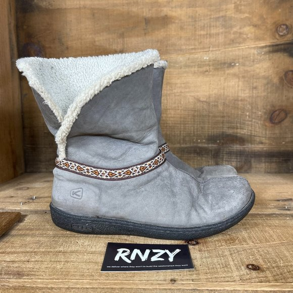 Keen Grey Fleece Lined Winter Pull On Snow Boots